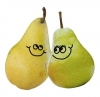 Two green pears with smiling faces
