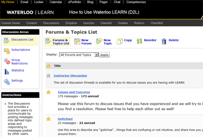 Waterloo Learn forums page