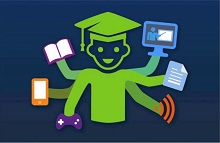 Student holding notebook, phone, video game controller, paper and laptop