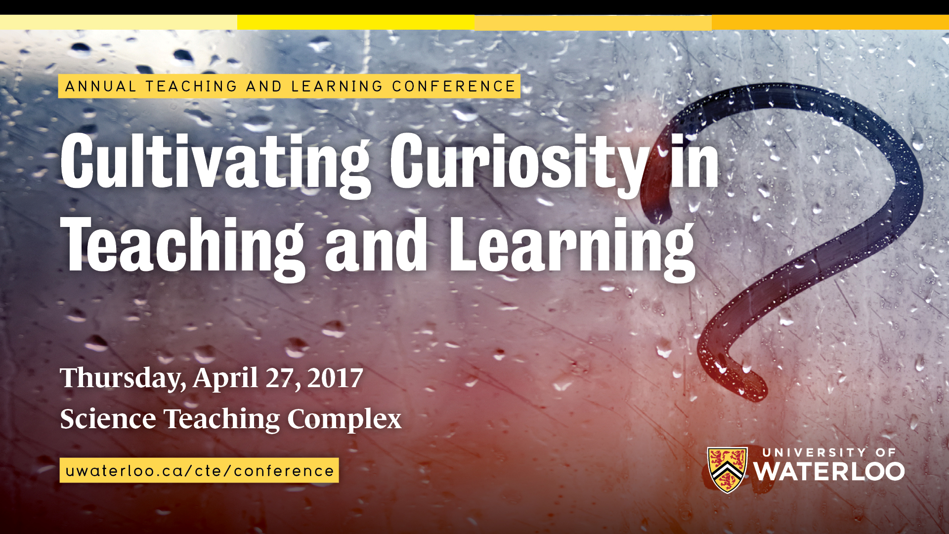 Conference title (Cultivating Curiosity in Teaching and Learning) superimposed over a question mark.