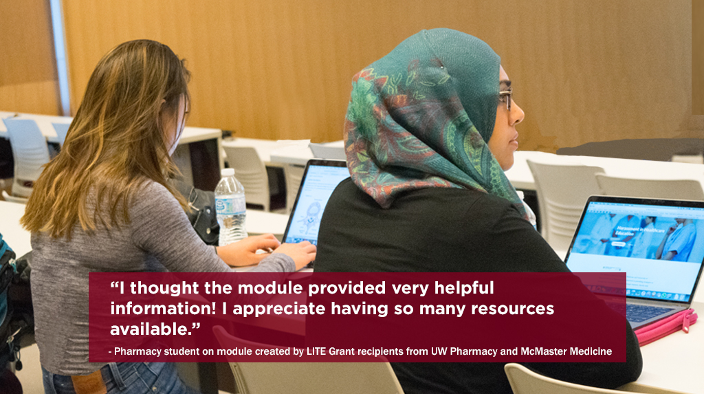 Two pharmacy students using an online module created with funding from a LITE grant.