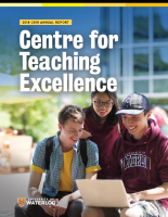 Front cover of CTE's 2018-2019 annual report: three University of Waterloo students smiling and looking at a laptop computer