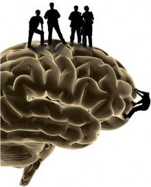 people standing on top of a brain