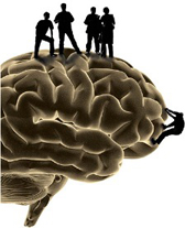 side profile of a brain with people standing on top of it