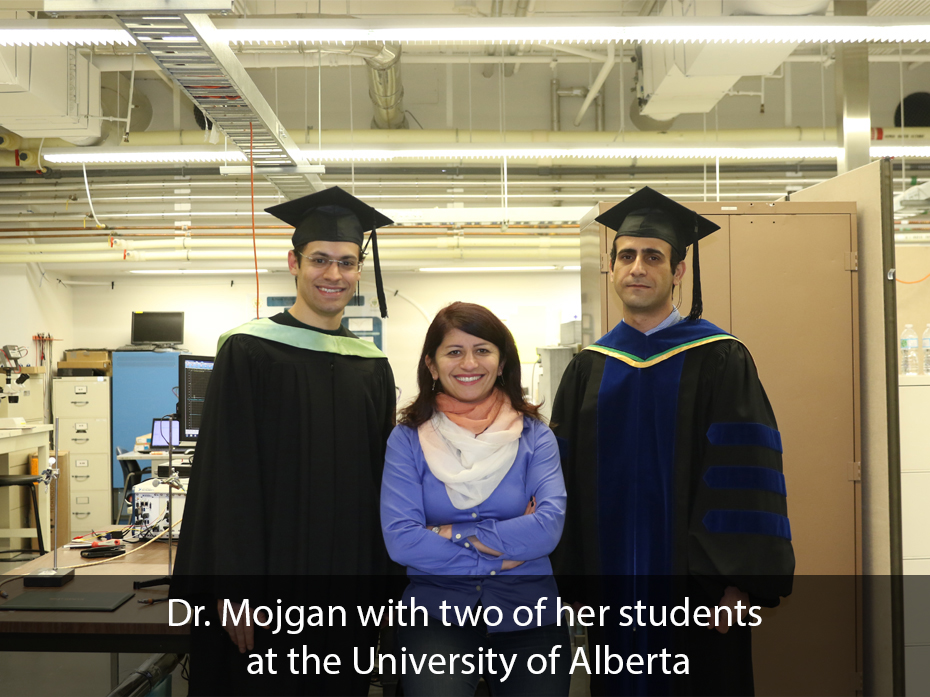 Dr. Mojgan with two of her graduate students at University of Alberta