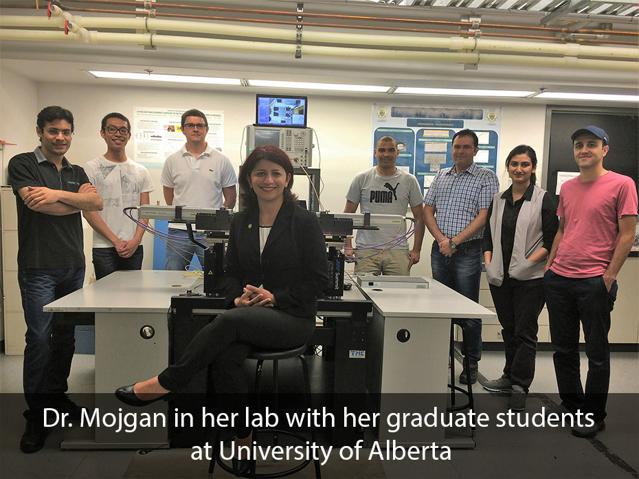 Dr. Mojgan in her lab with her graduate students at University of Alberta