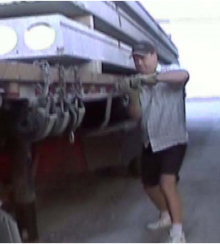 Man operating landing gear