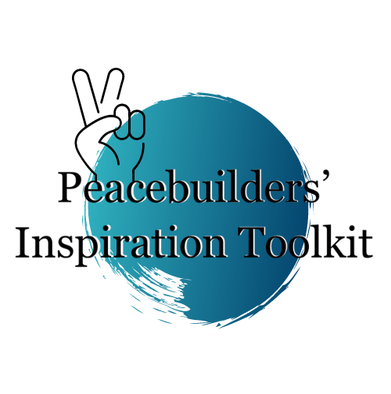 """Blue circle with peace sign and """"Peacebuilders' Inspiration Toolkit"""" text"""