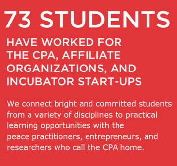 73 students have worked for the CPA, affiliate organizations, and incubator start-ups. We connect bright and committed students from a variety of disciplines to practical learning opportunities with the peace practitioners, entrepreneurs, and researchers who call the CPA home.