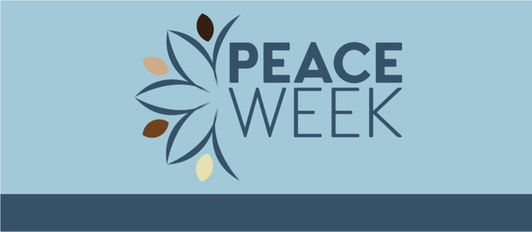 Peace Week banner image with neutral flowers and words Peace Week on blue background