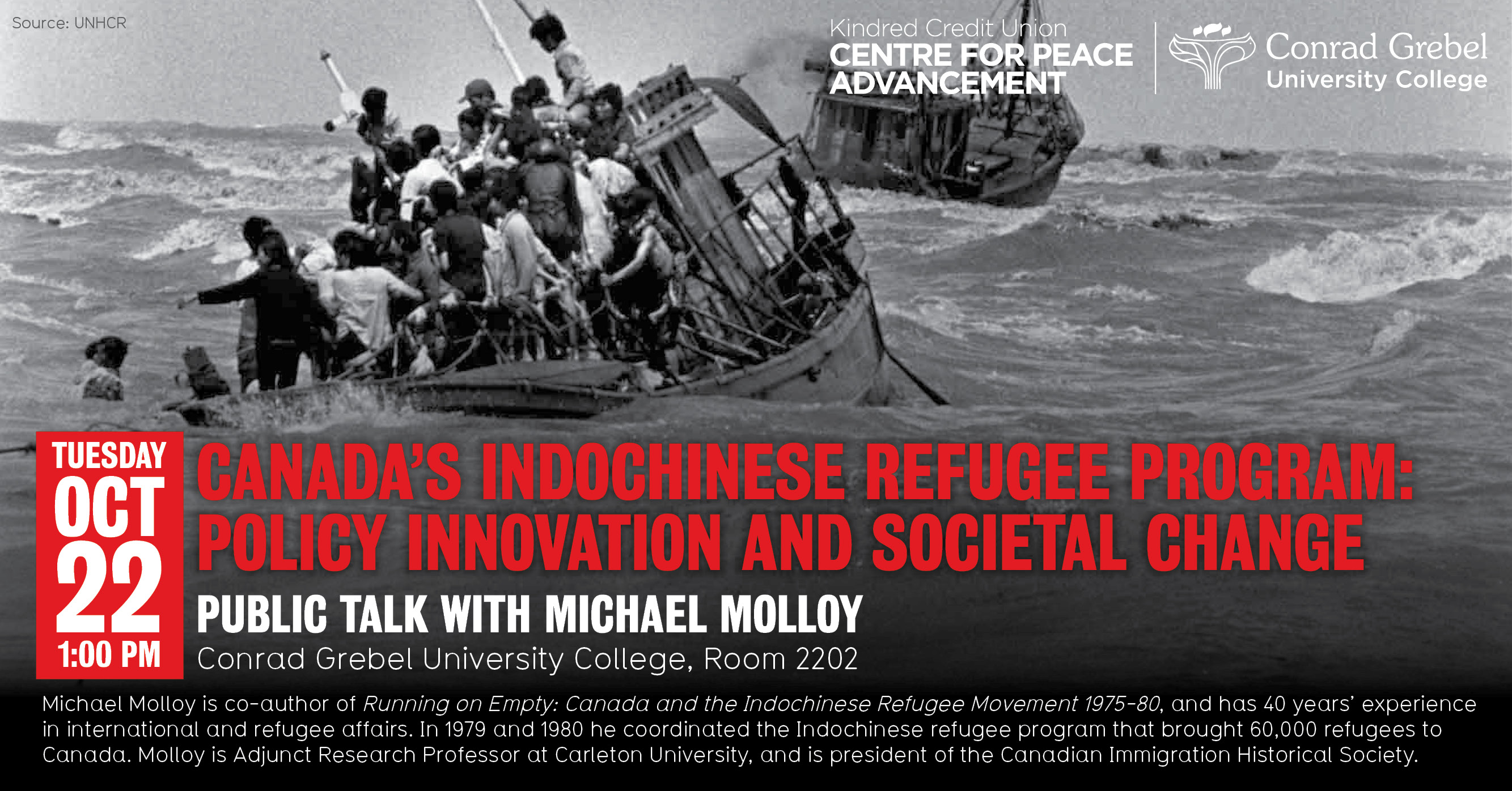 Poster for Michael Molloy lecture with picture of refugees on a boat
