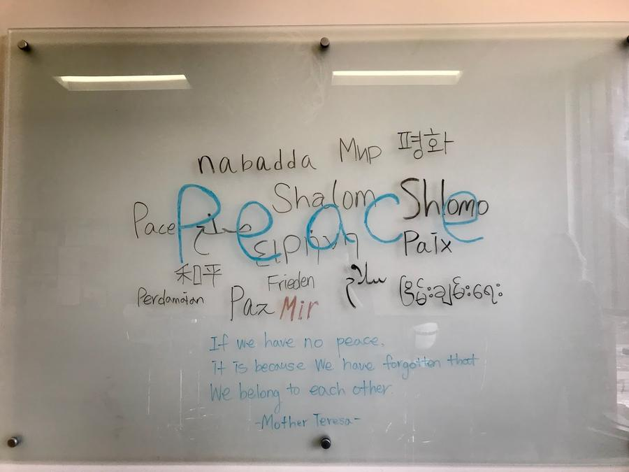 peace languages on the white board