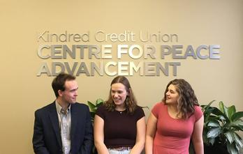 Peer Leaders Jonathan Smith, Hannah Bernstein, and Hannah Kaethler in the Kindred Credit Union Centre for Peace Advancement