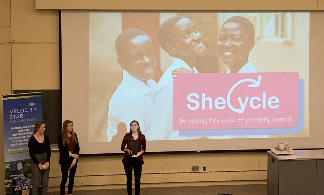 Abby Loewen, Leah Wouda, and Anna Kuepfer pitching with SheCycle at World's Challenge Challenge