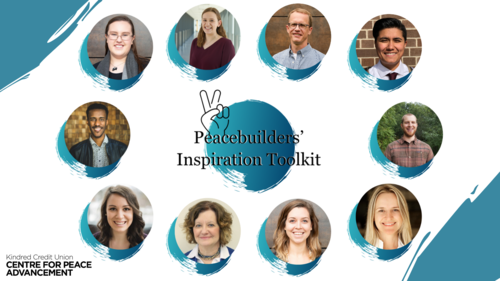 """Portraits of 10 CPA participants in a circle surrounding """"Peacebuilders' Inspriation Toolkit"""" text"""