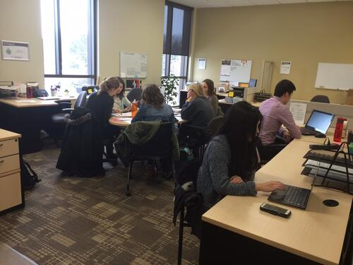 Incubator students hard at work on a monday morning