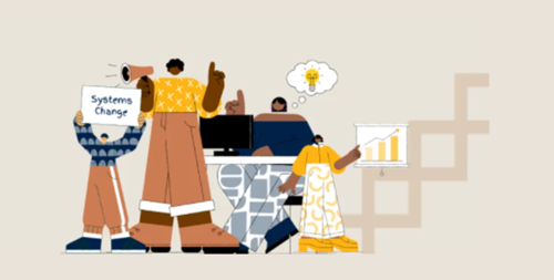 Systems Week 2021 graphic with four illustrated figures in yellow, blue and beige clothing and shoes.