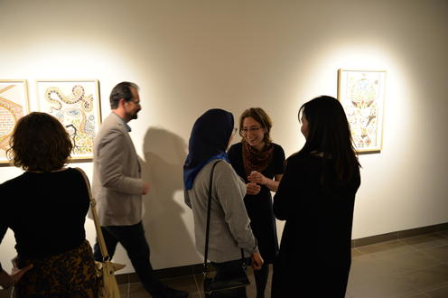Mag Harder and Soheila Esfahani meeting in the exhibit launch