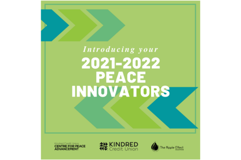 2021-2022 Peace Innovators graphic to introduce the new cohort of students