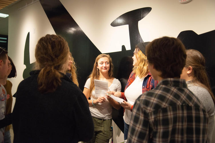 Students chatting in the Grebel Gallery