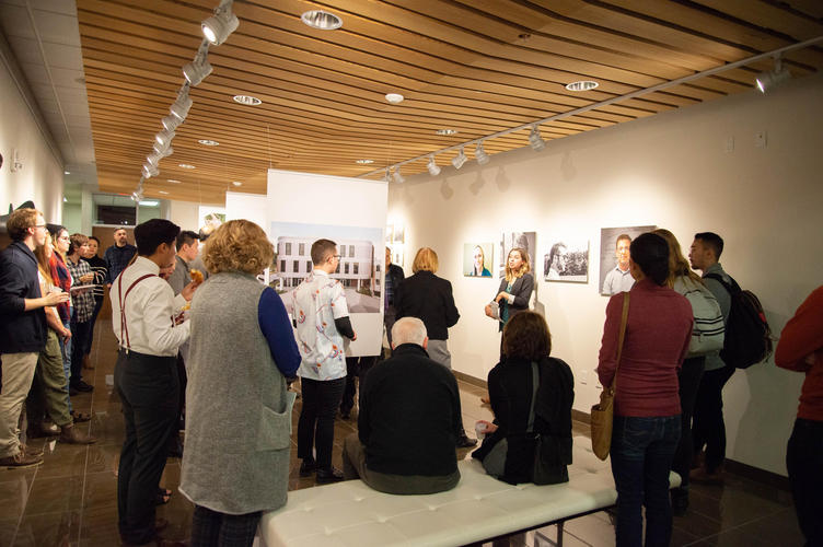 Coordinator Michelle Jackett gives a tour of the Grebel Gallery