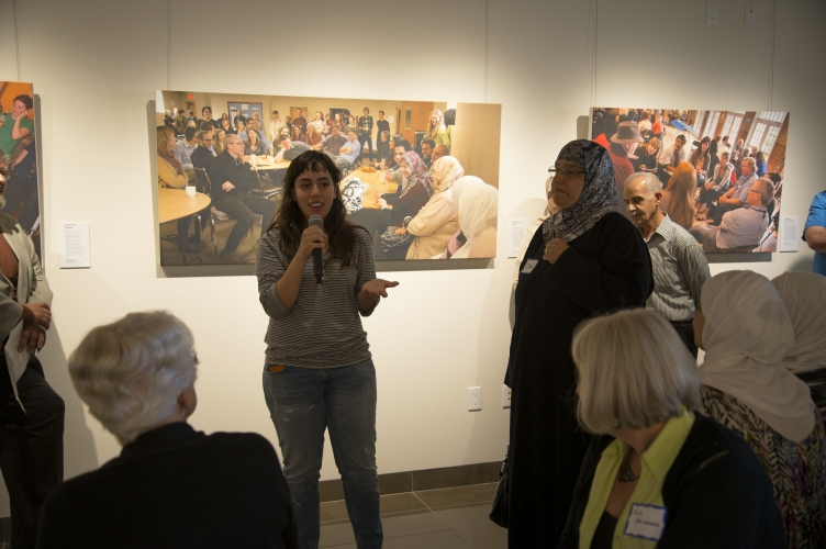 Presenting artwork at the exhibit launch.