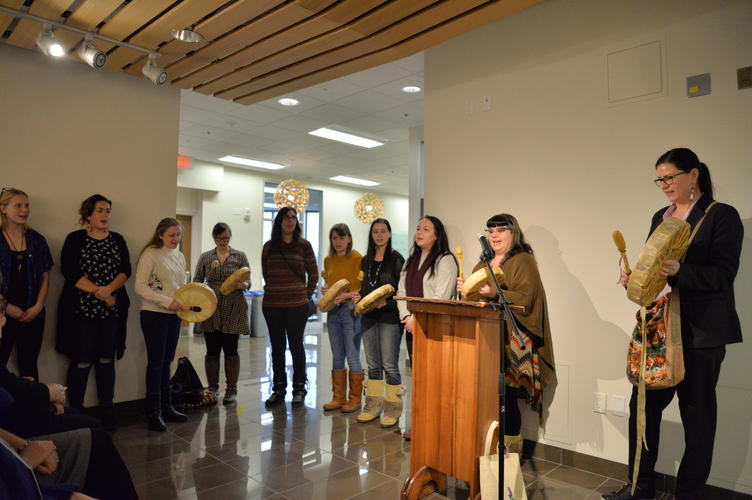 Our friends from the Waterloo Indigenous Student Centre opening the launch with drumming