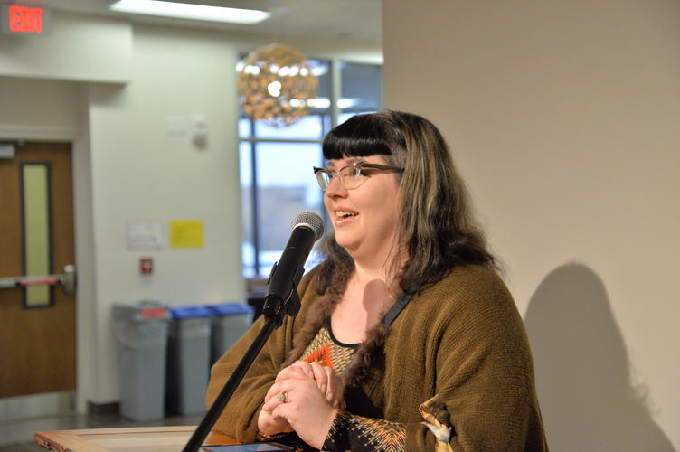 Catherine Dallaire speaking about the exhibit