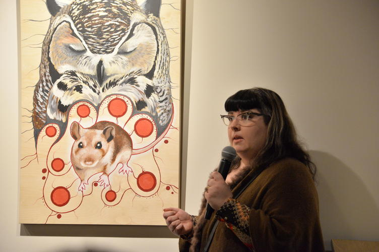 "Catherine Dallaire speaking about the piece ""Deer Mouse is Honoured"""