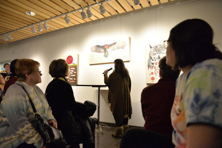 "Catherine Dallaire speaking about the piece ""Turkey Vulture is Honoured"""