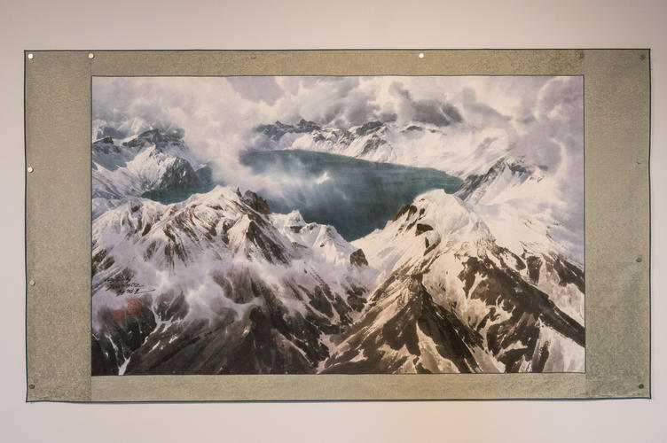 Image of mountain painting in gallery