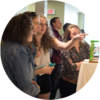 Students chat at Grebel Gallery Exhibit Launch