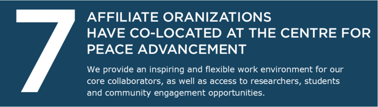 7 affiliate organizations have co-located at the Centre for Peace Advancement. We provide an inspiring and flexible work environment for our core collaborators, as well as access to researchers, students and community engagement opportunities.