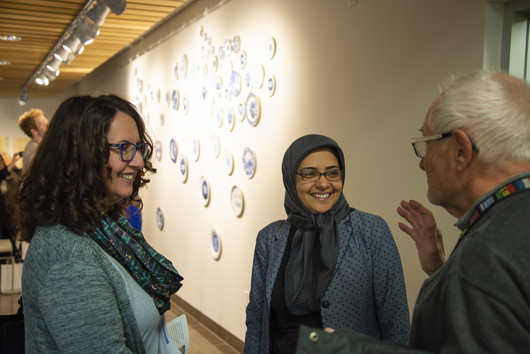 Artist Soheila Esfahani chats with Grebel Gallery guests