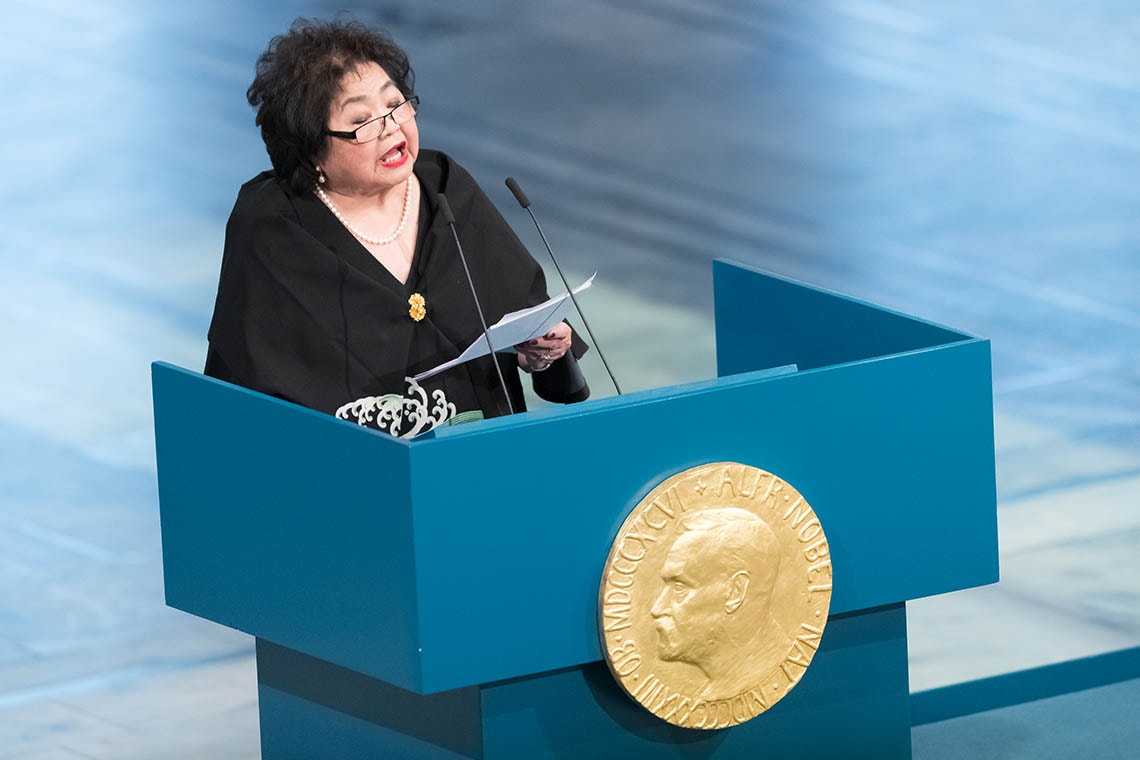 Setsuko Thurlow giving the acceptance speech at the Nobel Prize Award Ceremony