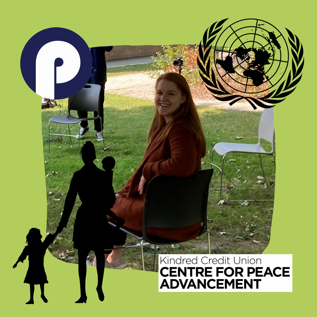 Kirsten looks over her shoulder while surrounded by graphics for Project Ploughshares, the United Nations, and the Centre.