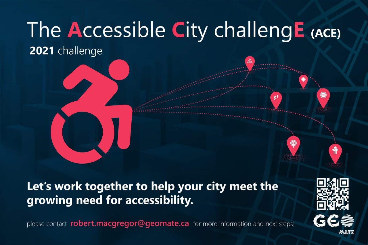 The Accessibile City Challenge (ACE) poster with navy blue background and a red silhouette figure in a wheelchair.