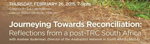 an image of the text journeying toward reconciliation: reflections from a post-trc south africa with andrew suderman