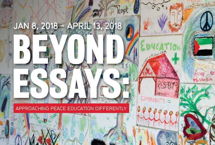 """Beyond Essays: Approaching peace education differently"" title on image of drawings"