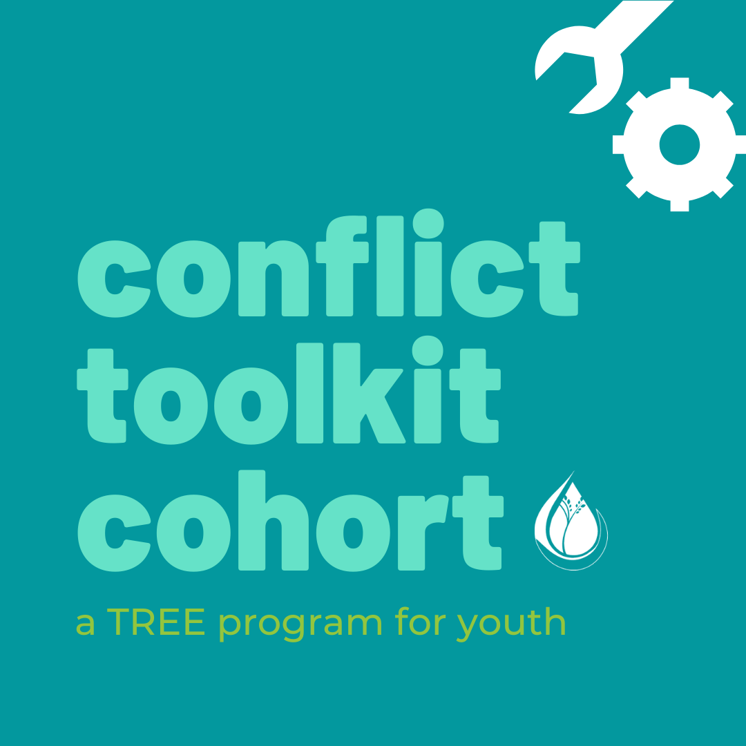 Conflict Toolkit Cohort, a TREE program for youth graphic with wrench and bolt background
