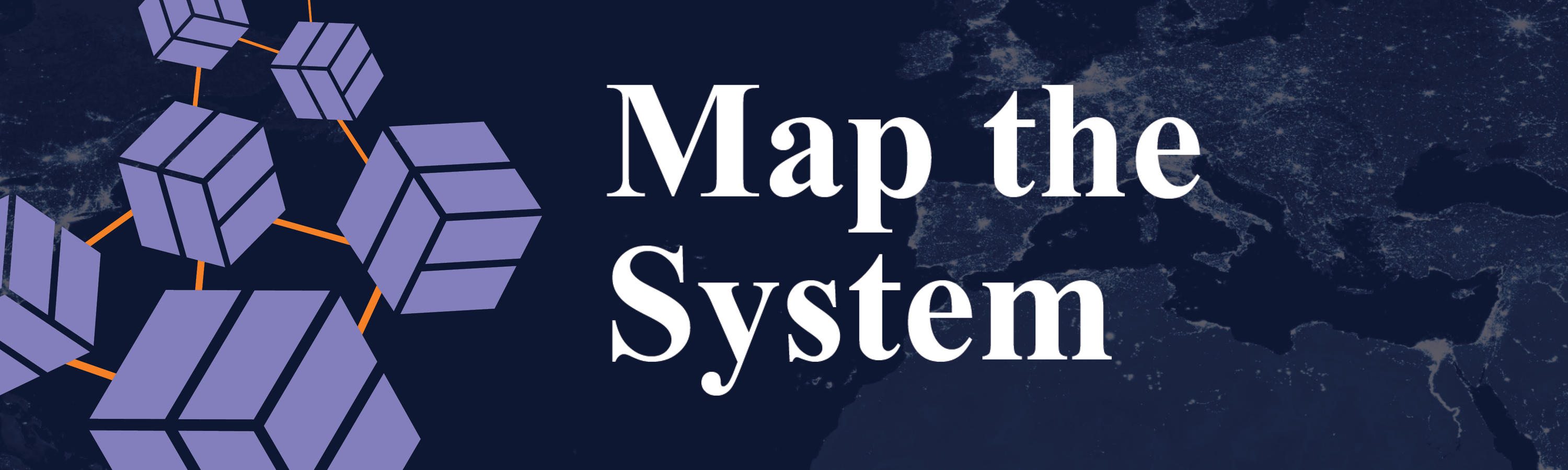Map the System banner with white text, abstract lavendar cubes and navy blue background.