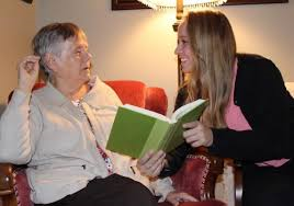 Rachel Thompson, founder of Marlena Books, reading with her grandmother