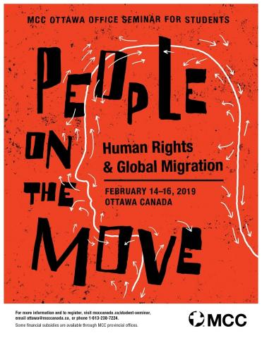 "MCC Ottawa Student Seminar poster. Red background, ""People on the move: Human Rights and Global Migration"" written in black ink"