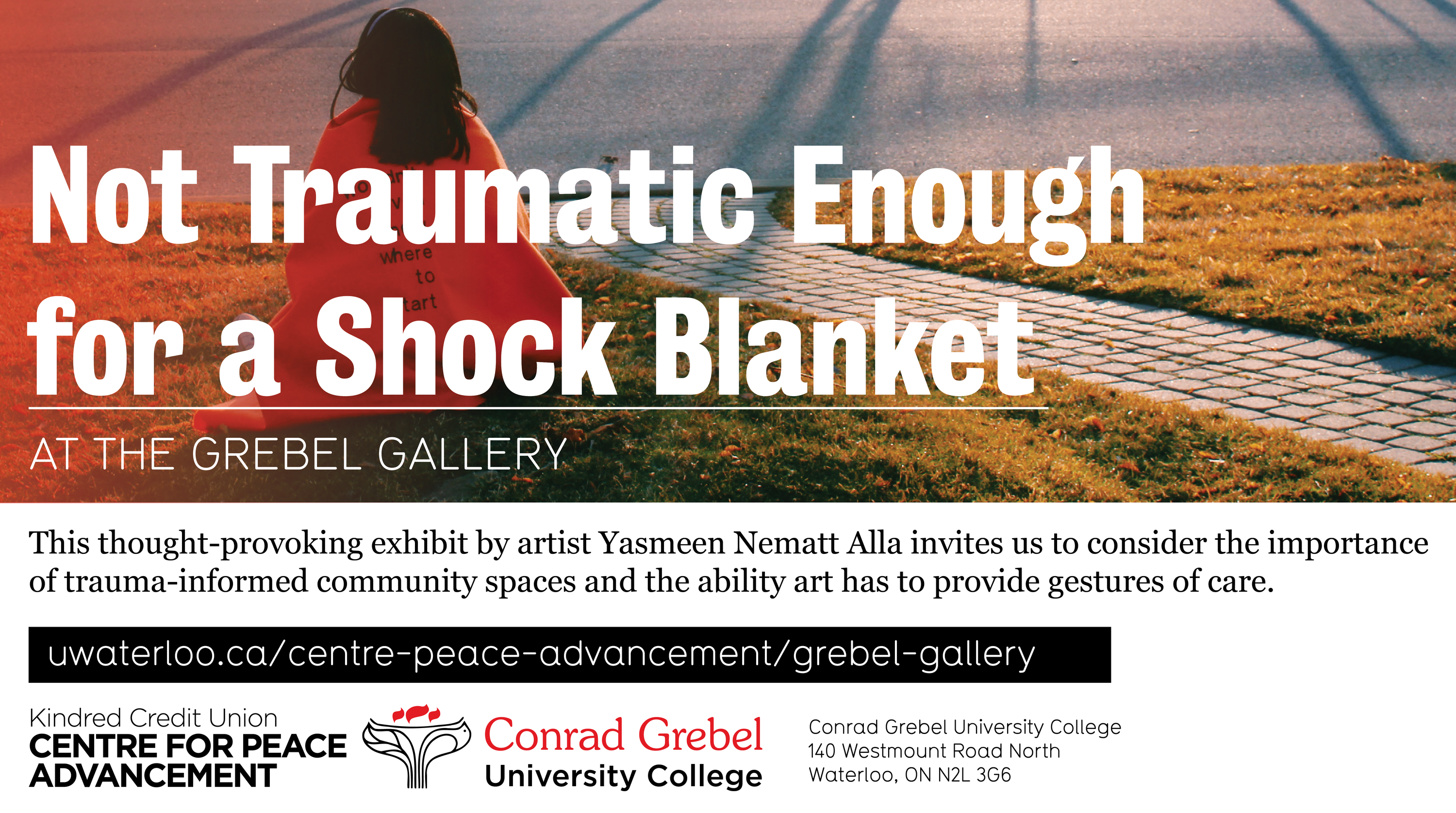 Grebel Gallery poster with photo of person with shock blanket and the exhibit title