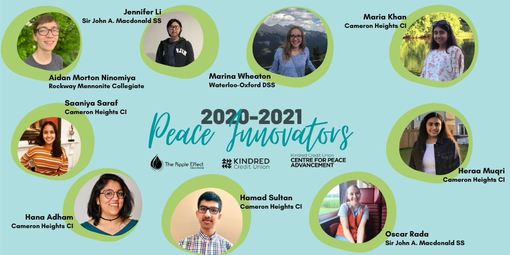 Peace Innovators announcement with student photos and partner logos