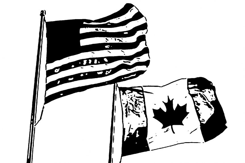 Canadian and American flag side by side