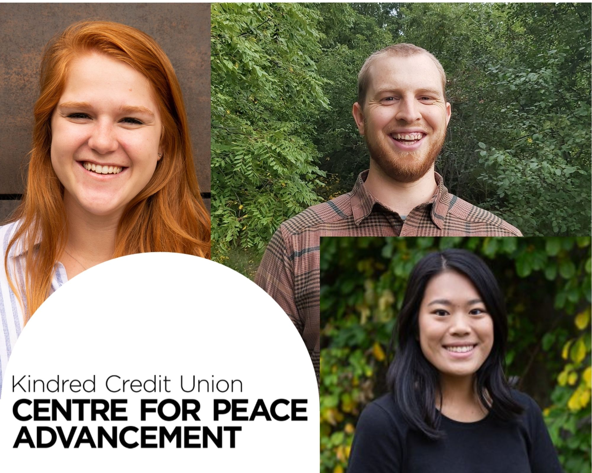 Centre for Peace Advancement logo and students Kirsten, Thomas, and Devina.