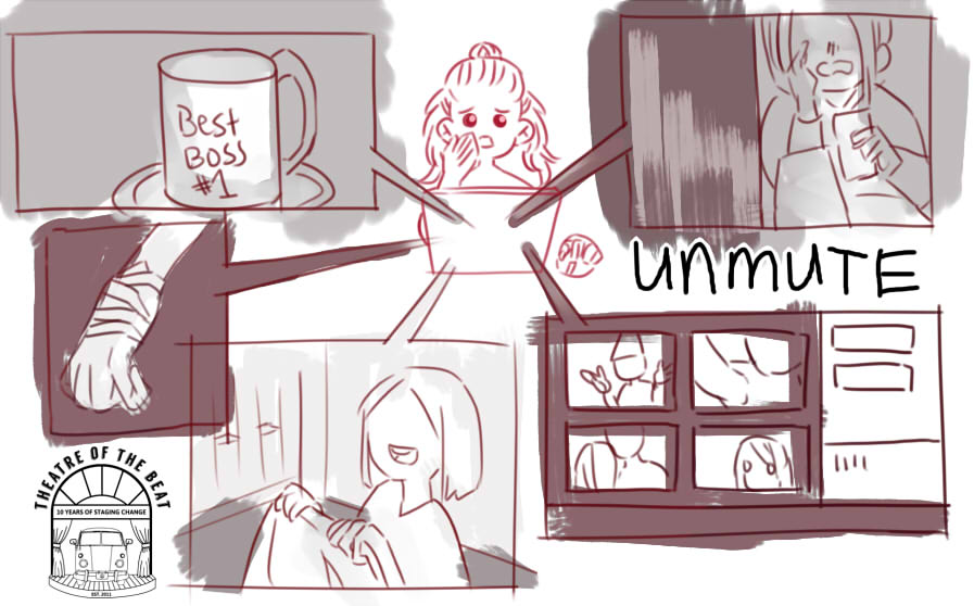 Unmute fan art depicting various scenes from the play from the audience perspective.