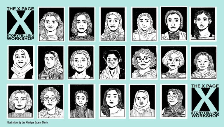 Black and white illustrations of 19 immigrant and refugee women living in the Waterloo Region.