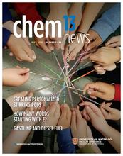 May 2018 cover of Chem 13 News with about 20 hands in a circle, each holding a colourful stirring rod